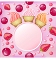 Sweet background with a set of popsicle strawberri vector image vector image