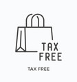 tax free flat line icon outline vector image vector image