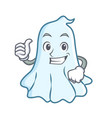 thumbs up cute ghost character cartoon vector image vector image