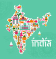 traditional symbols in form a map india vector image