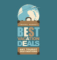 travel banner with a suitcase and planet earth vector image vector image