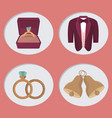 wedding day icons cartoon vector image vector image