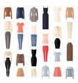 women clothes icons set in flat style vector image vector image