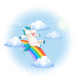 a happy unicorn slide on rainbow vector image