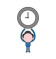 businessman character holding up clock color and vector image