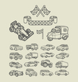 Car icons sketch vector image vector image