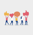 cartoon happy people hold likes social media or vector image