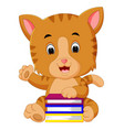 cat holding book vector image vector image