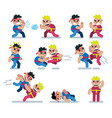 characters fight game flat icon man cartoon vector image