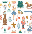 christmas seamless pattern with xmas tree toys vector image