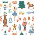christmas seamless pattern with xmas tree toys vector image