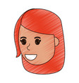 color pencil cartoon side view face girl with vector image vector image