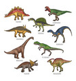 colored of different dinosaurs types vector image vector image