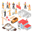construction isometric set vector image vector image