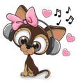 cute cartoon dog with headphones vector image vector image