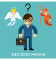Decision making Businessman with angel and demon vector image vector image