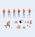 delivery man character with scooter parcels set vector image