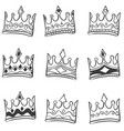 doodle of crown hand draw set vector image vector image