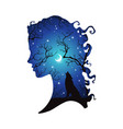 double exposure silhouette of woman and wolf vector image