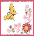 drawing of butterfly and flowers vector image vector image