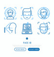 face id thin line icons set vector image