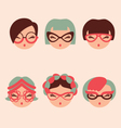 fashion girls in glasses icon set eps 10 vector image vector image