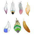 feathers of birds stylized of different shapes vector image vector image
