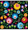 Floral Polish folk art pattern on black vector image vector image