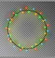 garland wreath decorations christmas color lights vector image vector image