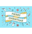 Greeting card with trendy ribbon and text Merry vector image