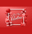 happy valentines day with red hearts vector image