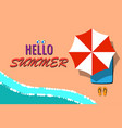 hello summer with the beach message vector image vector image