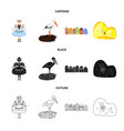 isolated object of traditional and tour logo set vector image vector image