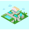 Isometric City Park with Fountain vector image vector image