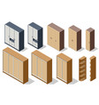 isometric various elements wooden wardrobes vector image