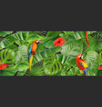 Jungle leaves and parrots seamless pattern 3d
