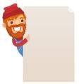 Lumberjack looking at blank poster vector image vector image