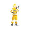 male firefighter holding megaphone vector image