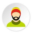 man wearing rastafarian hat icon circle vector image