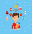 man with supermarket groceries in shopping bag vector image
