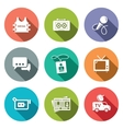 Media flat icon set vector image