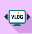 monitor vlog logo flat style vector image vector image