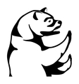 monochrome silhouette with half body bear vector image