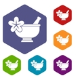 Mortar and pestle pharmacy icons set vector image