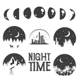night time concept labels and emblems in vector image vector image