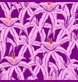 pattern with purple tropical flowers vector image vector image