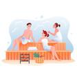people relax in sauna cartoon happy man woman vector image vector image