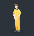 prisoner with handcuffed hands vector image