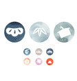 set asian icons with japanese wave pattern vector image