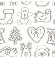 set gingerbread cookies pattern vector image